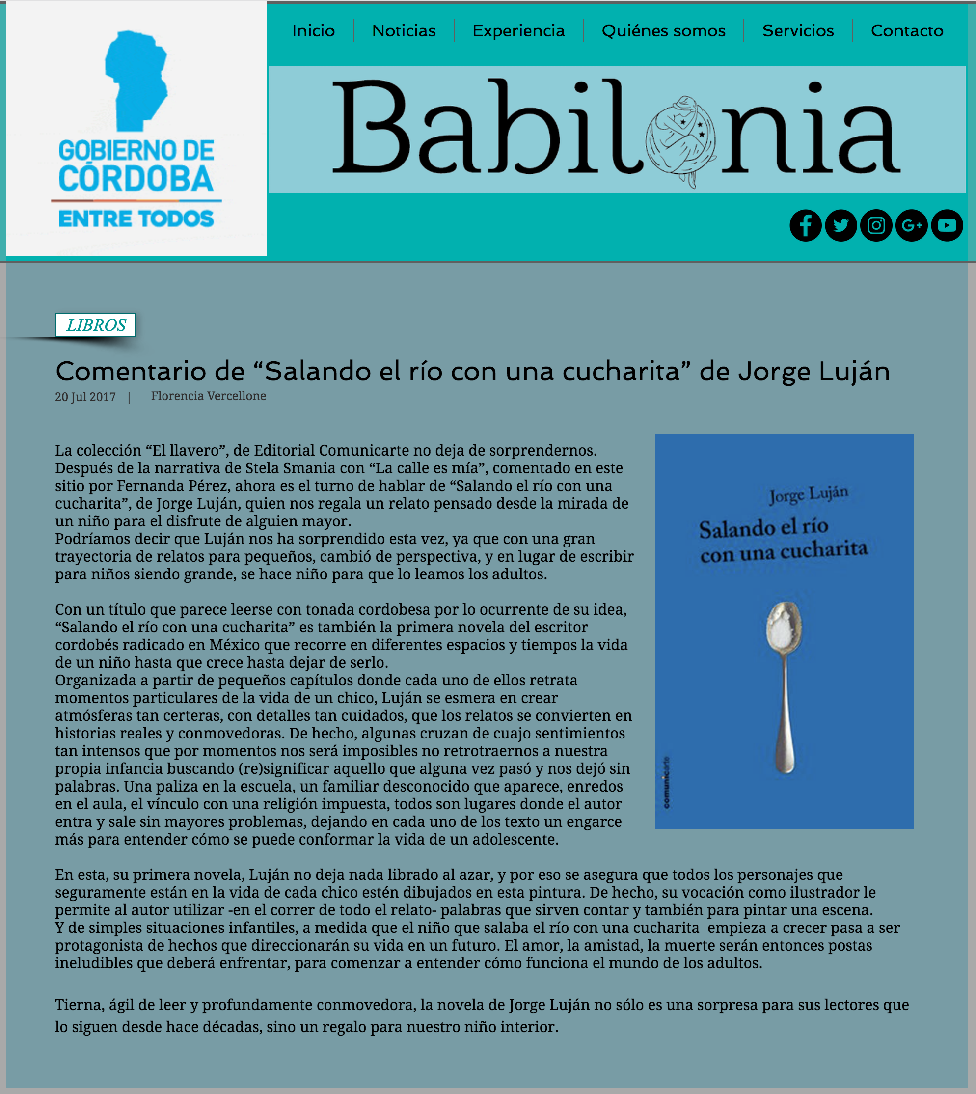 Jorge Luján nota en babilonialiteraria.com