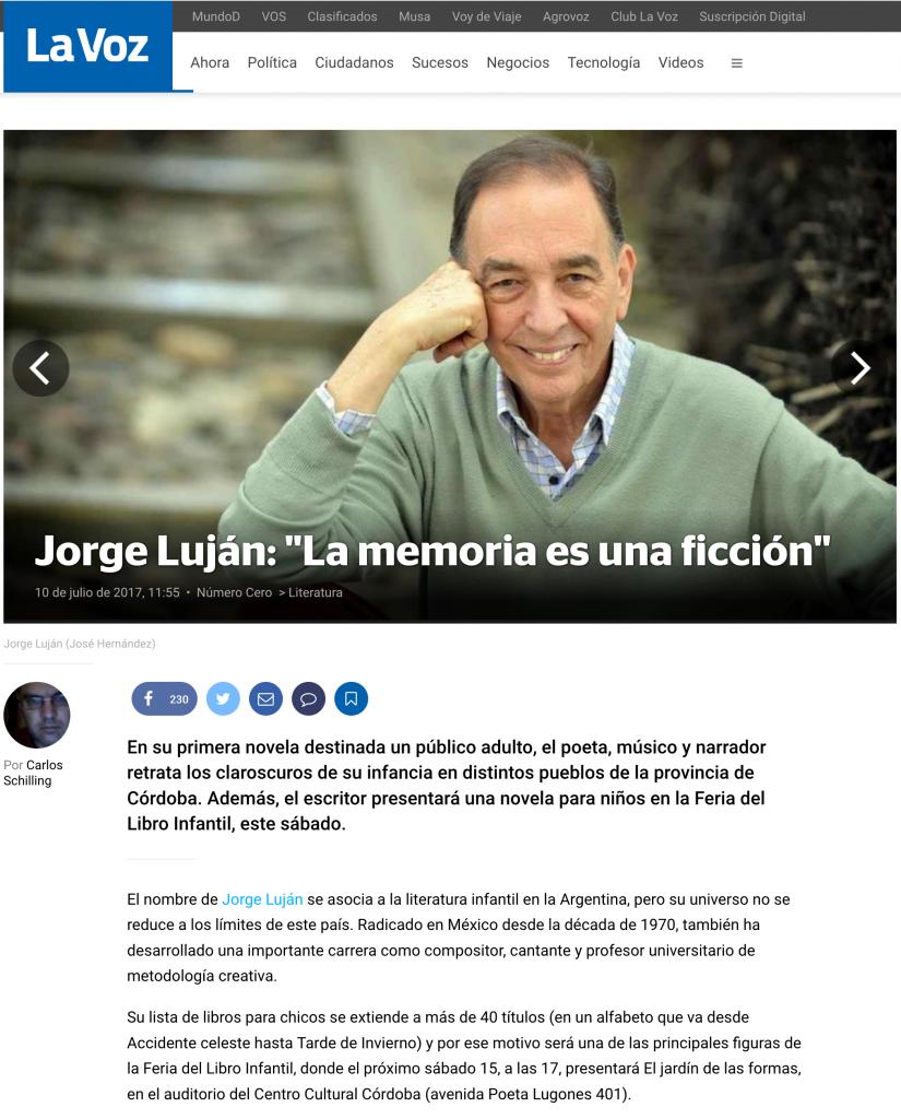 Jjorge Luján nota en lavoz.com.ar